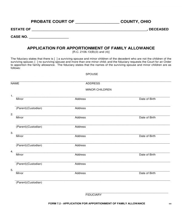 family allowance apportionment application form