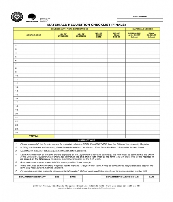 final material requisition checklist form