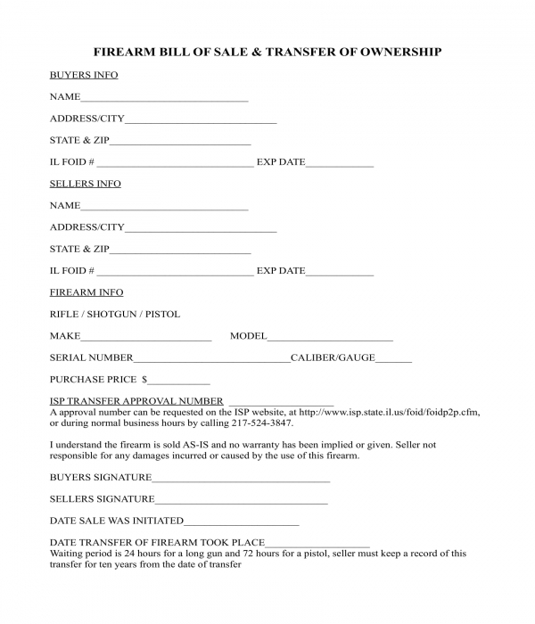 firearm bill of sale and transfer of ownership form