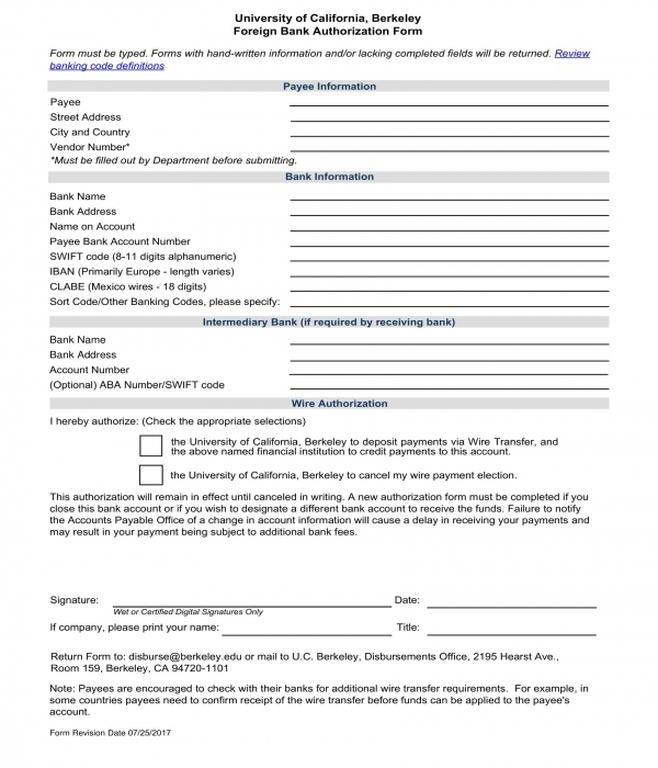 foreign bank authorization form