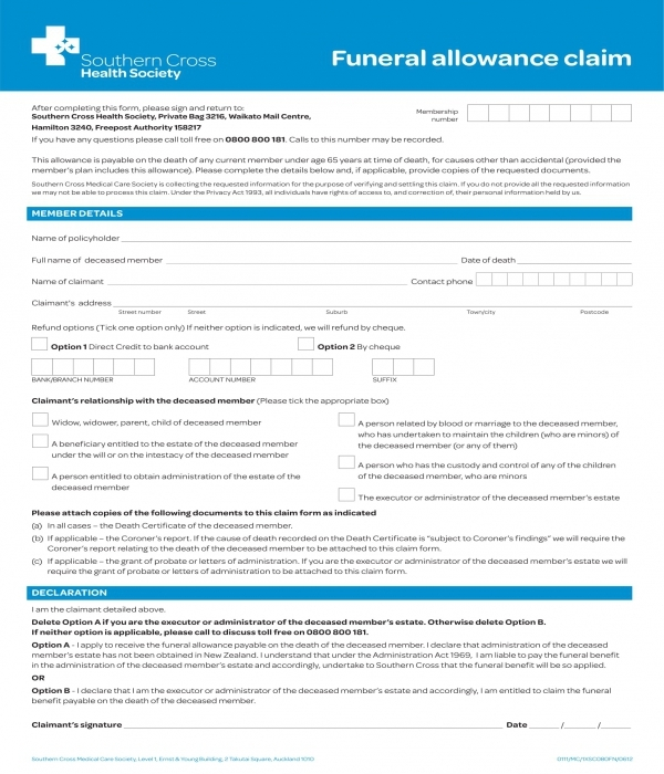 funeral allowance claim form template