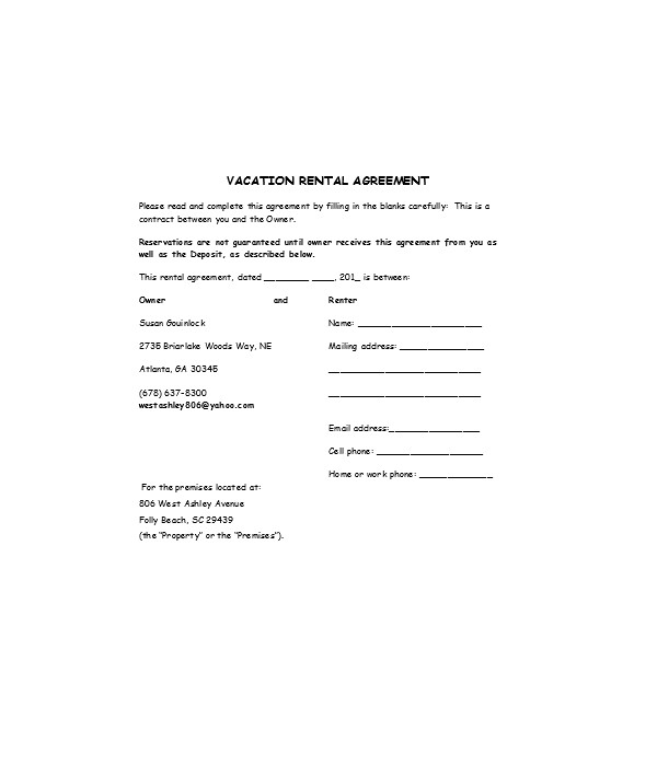 general vacation rental agreement form