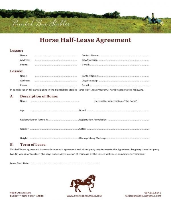 3 Horse Lease Agreement Forms Pdf