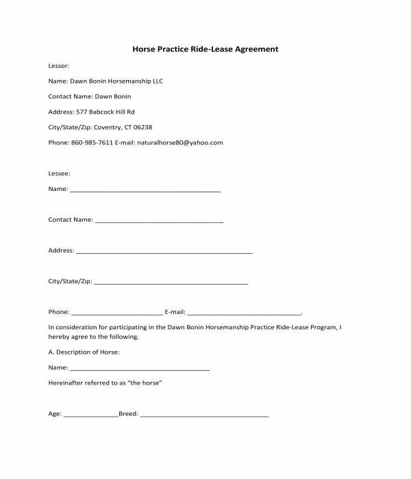 horse practice ride lease agreement form