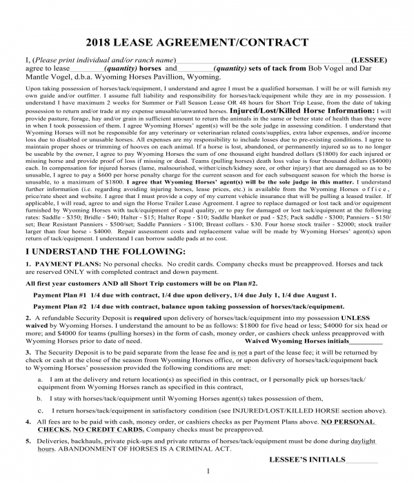 horse trailer lease rental agreement form