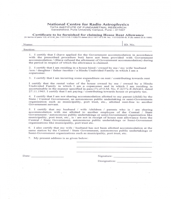 house rent allowance claim certificate form