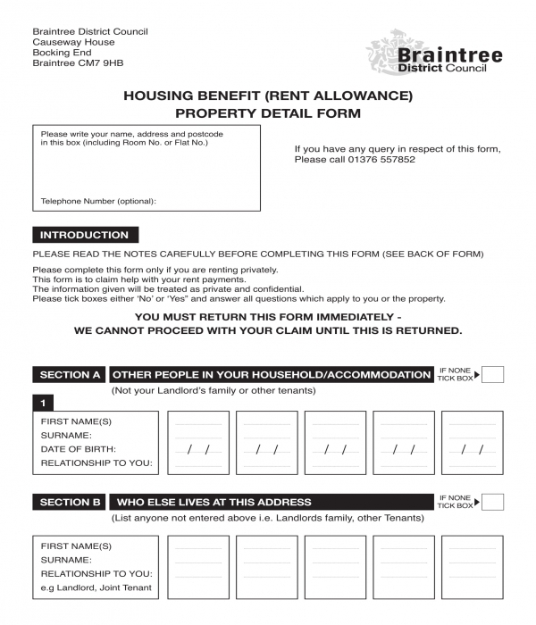 house rent allowance property details form