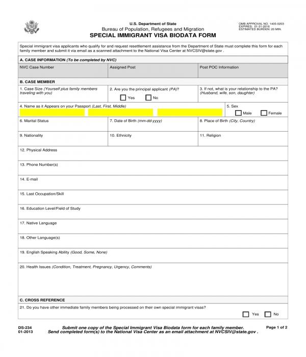 immigrant visa bio data form