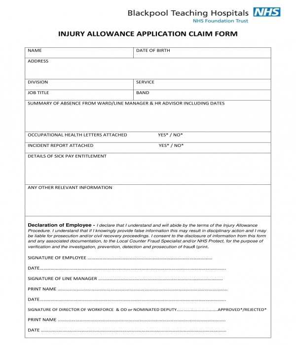 injury allowance application claim form template