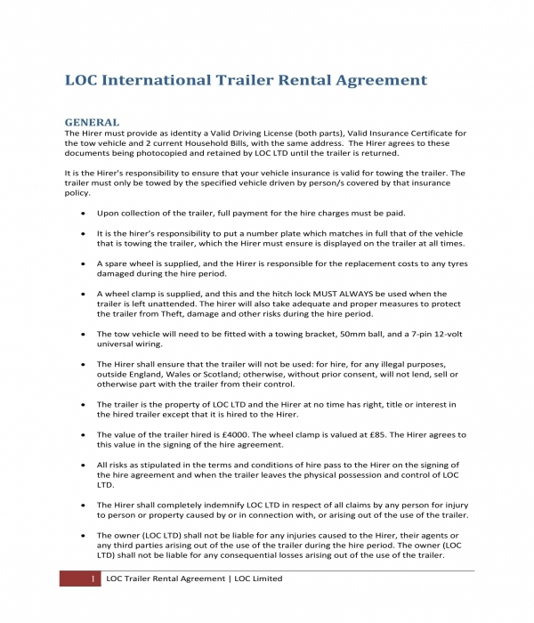 10 Trailer Rental Agreement Forms Pdf Doc