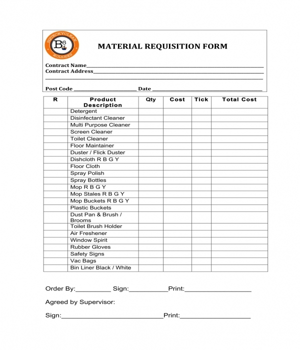 material requisition form sample