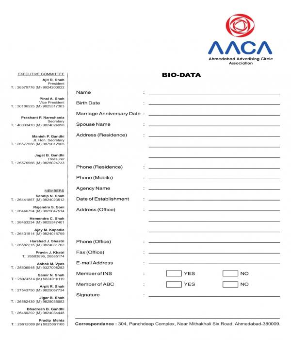 member bio data form