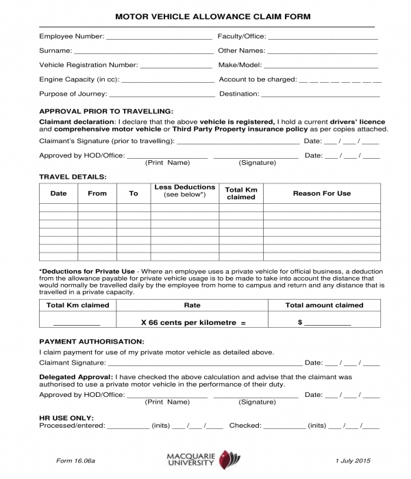 motor vehicle allowance claim form template