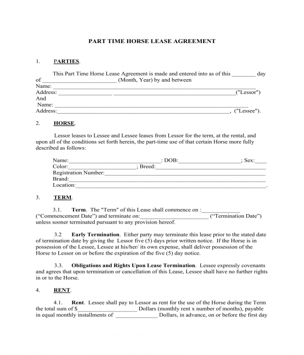 part time horse lease agreement form