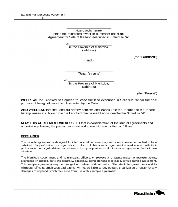 pasture cash lease agreement form in doc