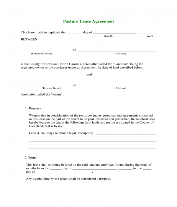 pasture lease agreement form sample