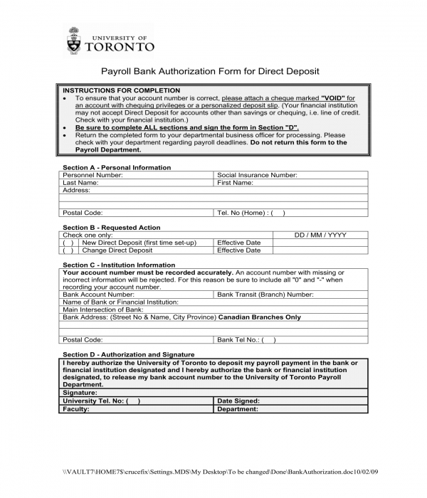 payroll bank authorization form