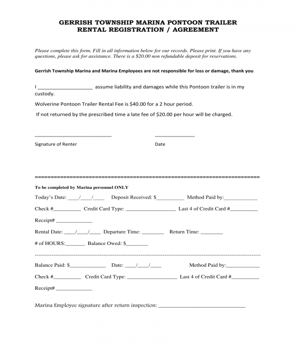 pontoon trailer rental registration agreement form