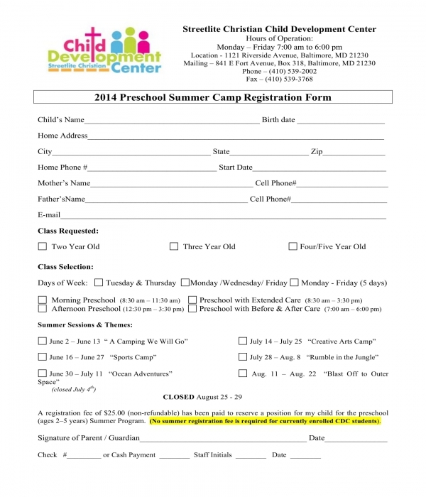 preschool summer camp registration form