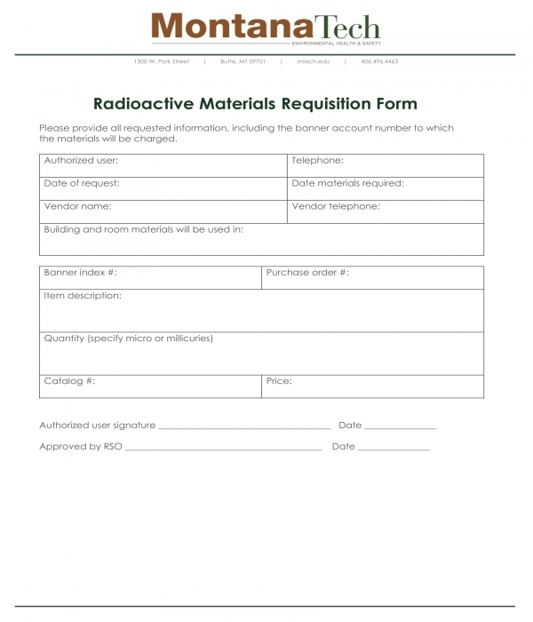 radioactive material requisition form