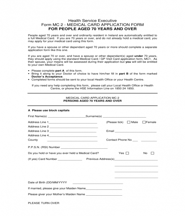 senior medical card application form