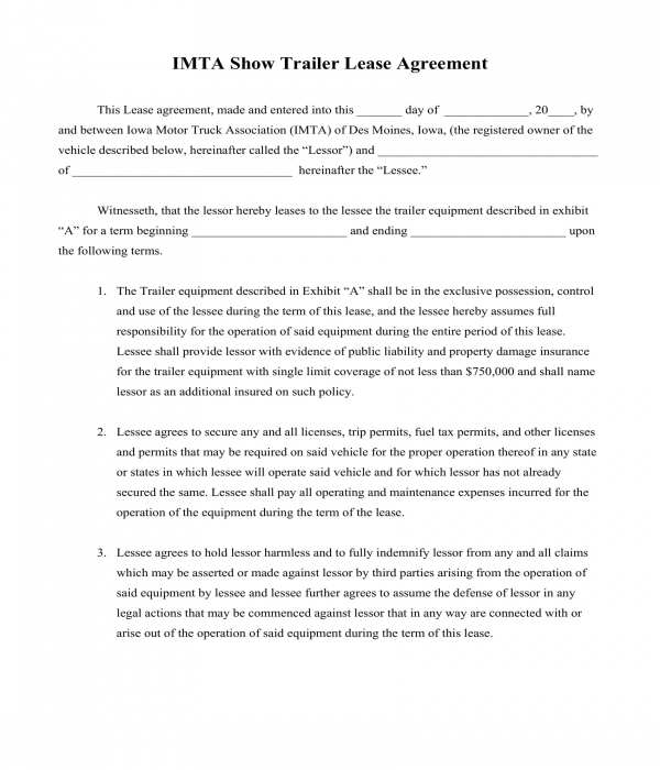 free 10  trailer rental agreement forms in pdf