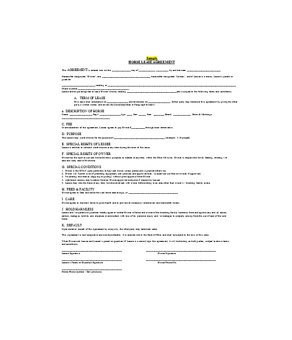 simple horse lease agreement form