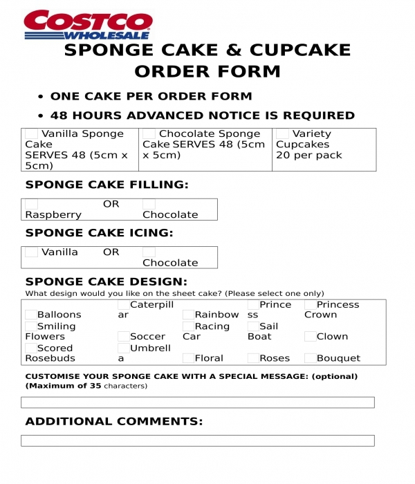 cake order form doc  FREE 7+ Cake Order Forms in WORD | DOC