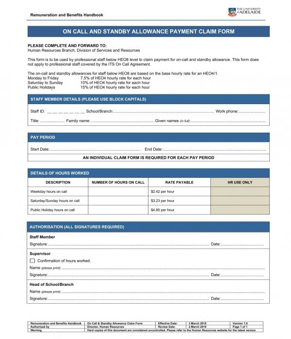 standby allowance payment claim form template