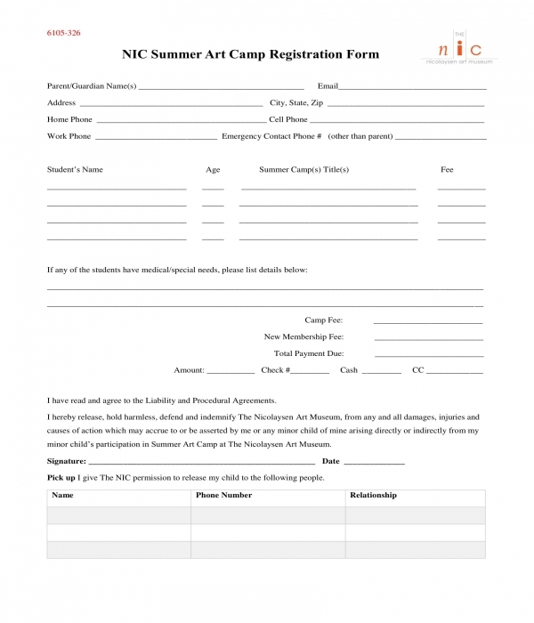 summer art camp registration form