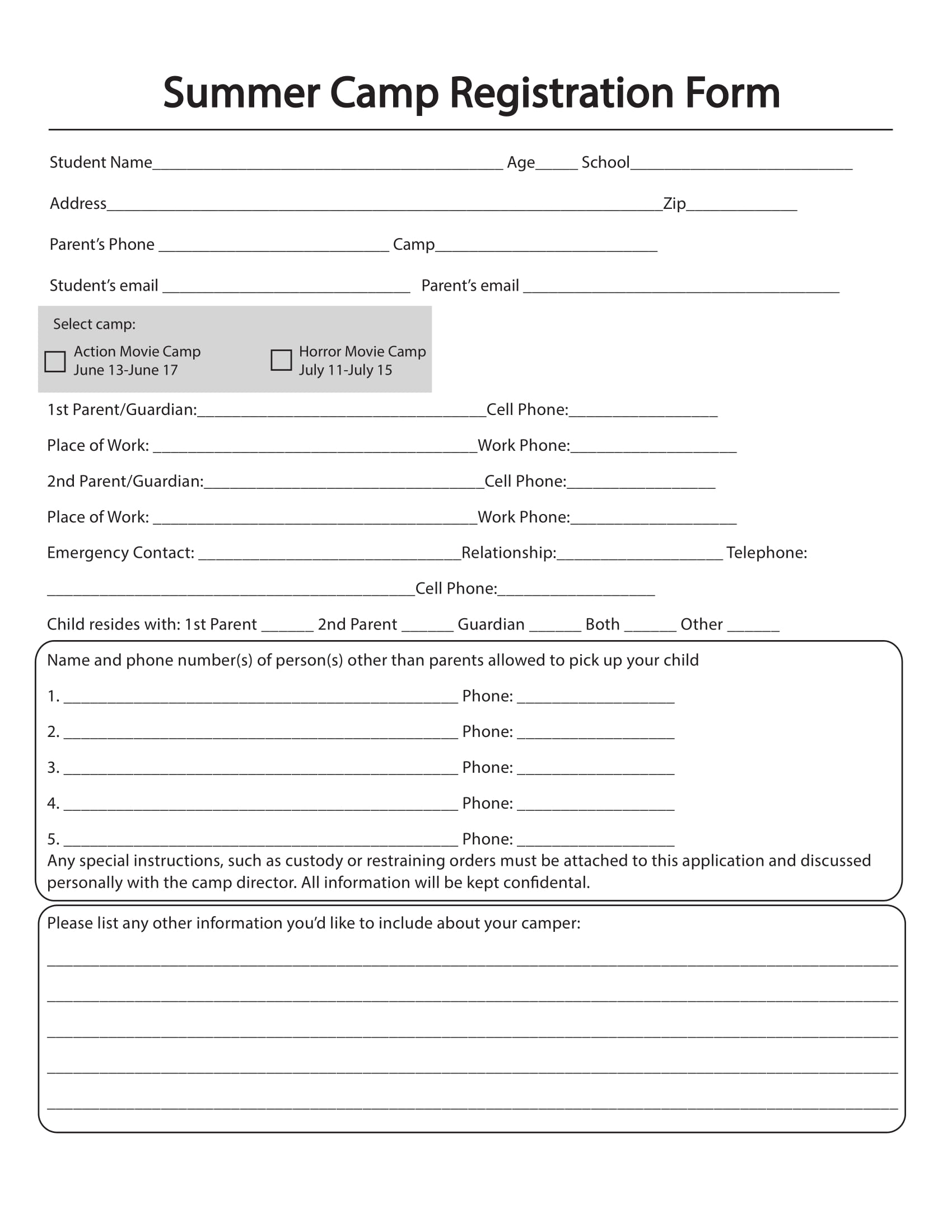 summer camp registration form