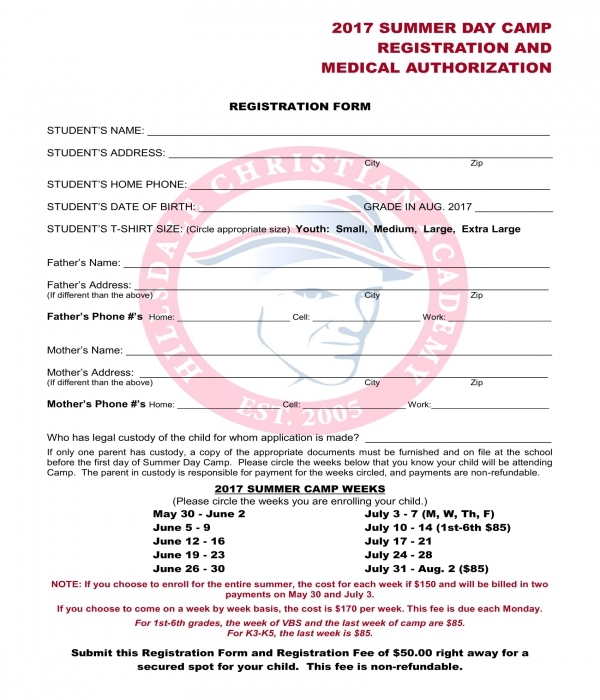 summer camp registration medical authorization form
