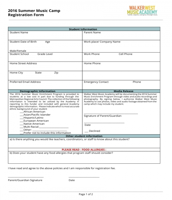 summer music camp registration form