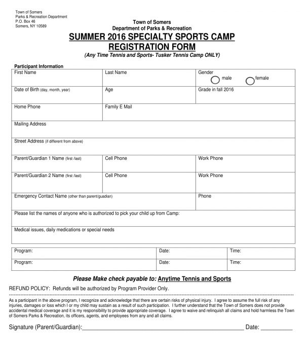 summer sports camp registration form