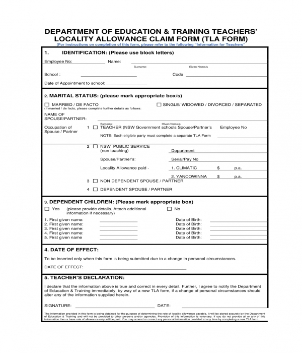 teachers locality allowance claim form template