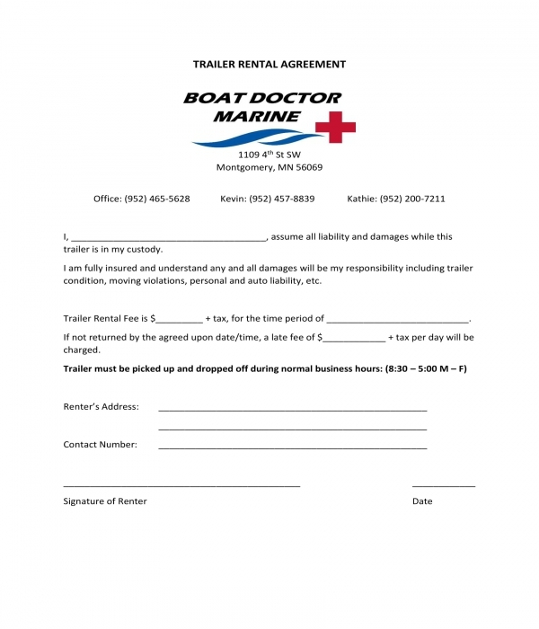 trailer rental agreement form