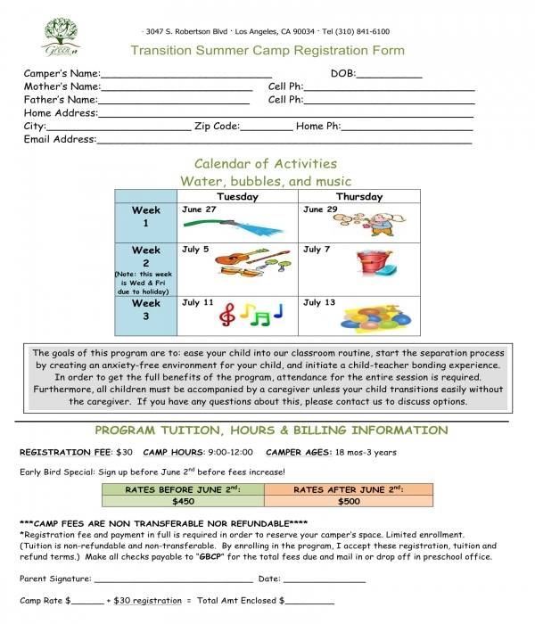 transition summer camp registration form