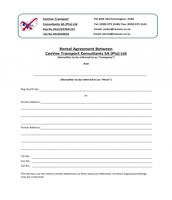 transport trailer rental agreement form