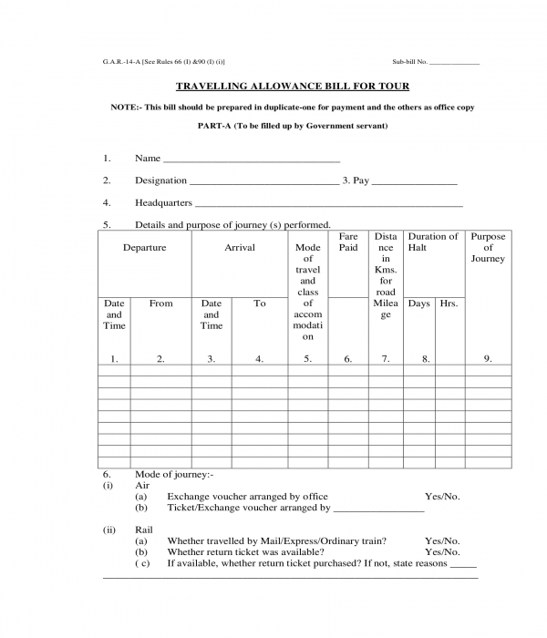 travel allowance tour bill form template