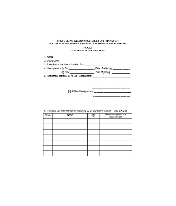 travelling allowance bill of sale form