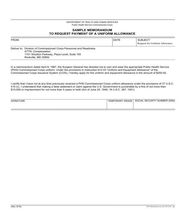 uniform allowance payment request form template