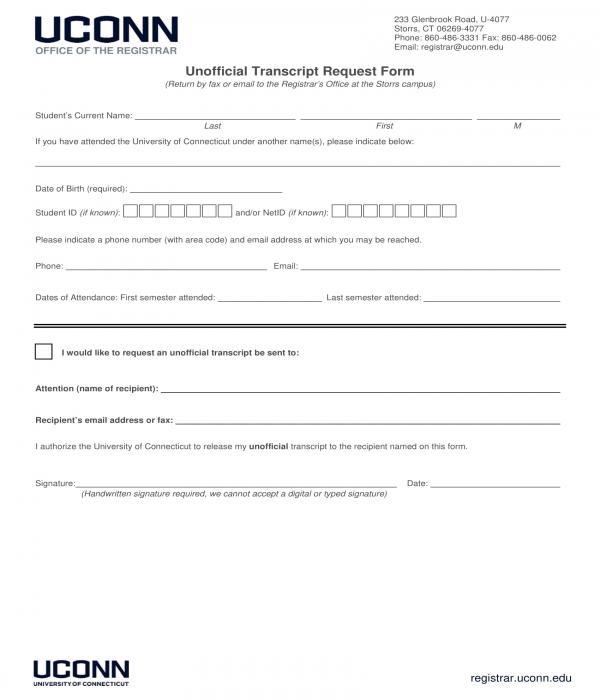 Unofficial Transcript Request Form