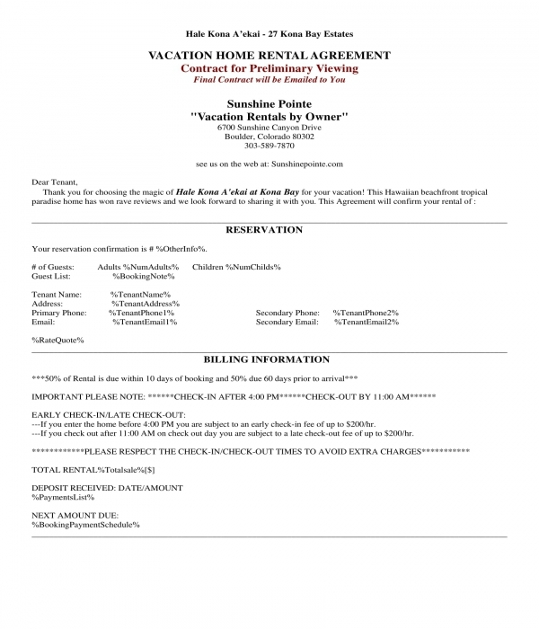 vacation home rental agreement form