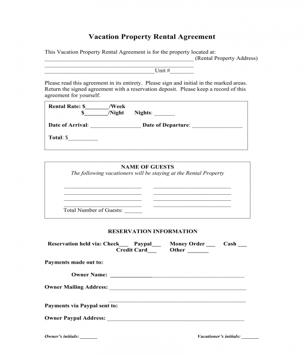 Free 7 Vacation Rental Agreement Forms Pdf