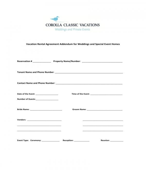 vacation rental agreement addendum form