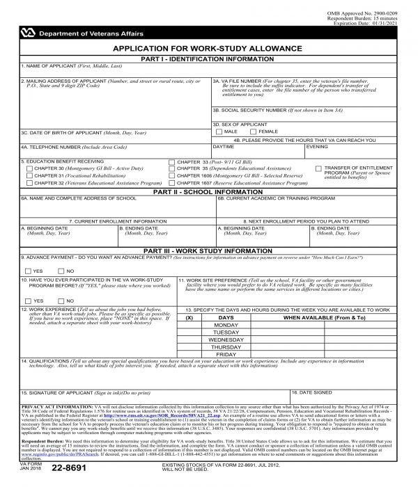 work study allowance application form template