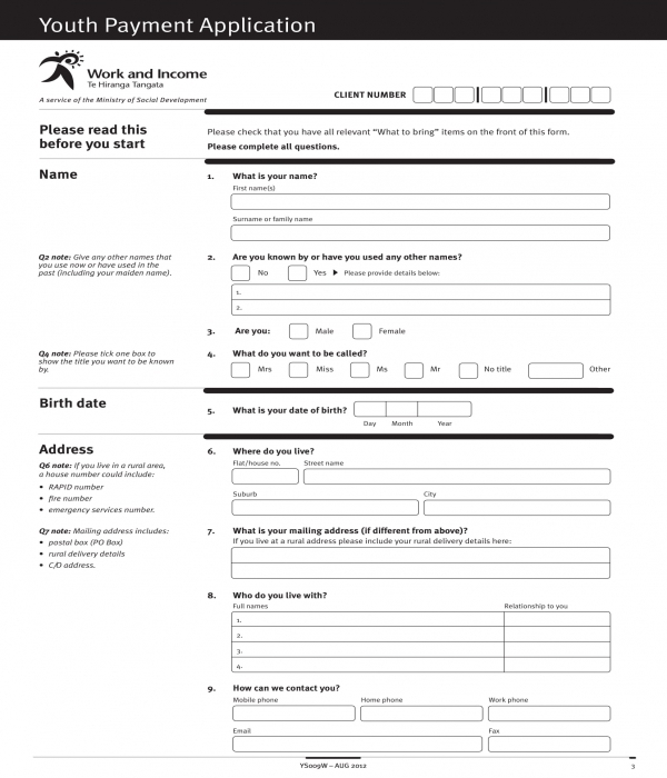 youth allowance payment application form