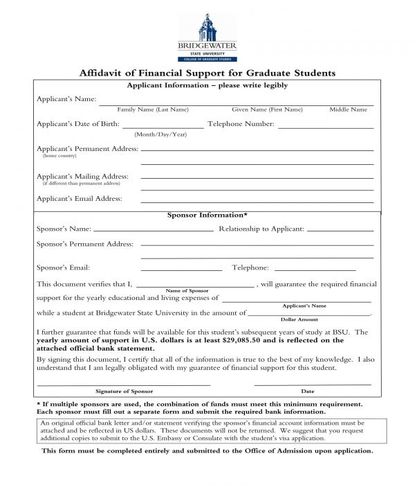 affidavit of financial support for graduate students form