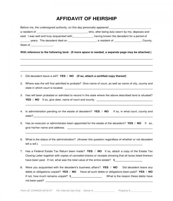 affidavit of heirship questionnaire form