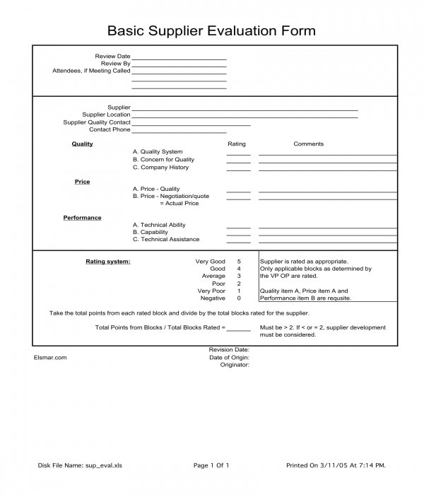 basic supplier evaluation form